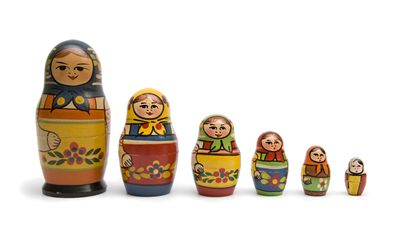 Yellow, Red, Blue Matryoshka Dolls